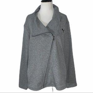 Puma Heather Grey Asymmetrical Zip-up Jacket